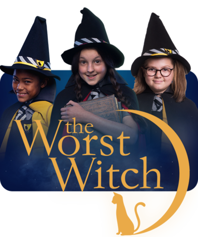 Enid, Mildred and Maud with the Worst Witch Logo