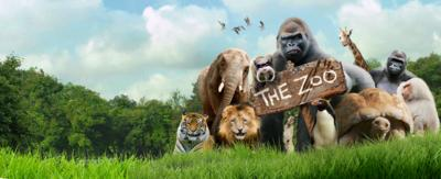 A group of zoo animals standing together in front of a sigh that reads 'The Zoo'.