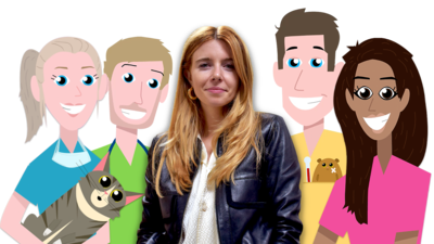 Stacey Dooley smiles with cartoon vets holding pets around her.