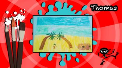 A picture of a desert island by Thomas.
