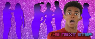 A boy (Kingston from The Next Step) looks shocked and delighted, standing in front of a bunch of dancers in silhouette in The Next Step Studio. The words 'The Next Step' is emblazoned across his chest.