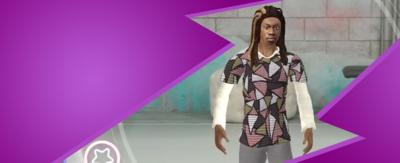 Game graphic of Henry from The Next Step. He is a teenage boy with long brown dreadlocks. He is wearing a brow, pink and white patterned t-shirt with grey trousers.