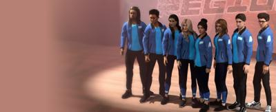 The Next Step A-Troupe at Regionals wearing blue jackets.