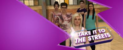 The Next Step Take it to the Streets game logo and characters in the studio.