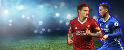 Football player in red running (Phillipe Coutinho in Liverpool kit). Player in blue running from the opposite direction (Eden Hazard in Chelsea kit).