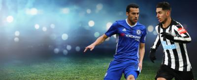Two football players running towards each other. Pedro (Chelsea) left. Perez (Newcastle) right.