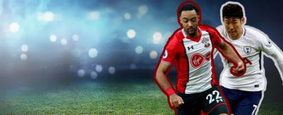 Two football players running. Nathan Redmond in Southampton kit on left. Son Heung-min in Spurs kit on right.
