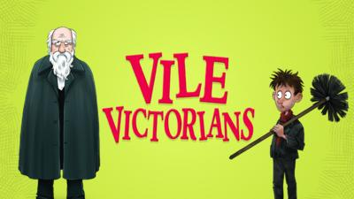 Giant red logo saying Vile Victorians.