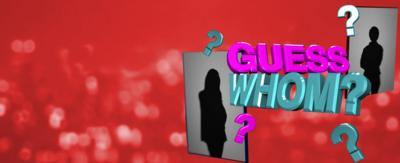 'Guess Whom' in 3D text with 2 silhouettes.