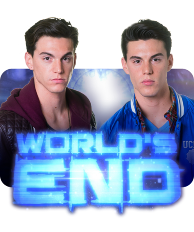 The twins from World's End with the logo