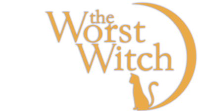 The Worst Witch Logo in yellow with a cat sat in a crescent shaped moon.