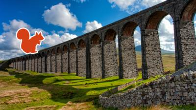 The Ribblehead Viaduct arches against a bright blue sky, with an orange red squirrel outline.