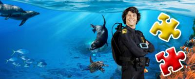 Andy smiles underwater surrounded by sea life and two jigsaw pieces.