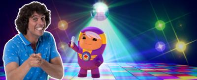 Andy and the Go Jetters on a disco floor.