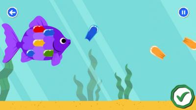 Cartoon image of a fish collecting brightly coloured scales, within the Your Mindful Garden activity in the CBeebies Go Explore app.