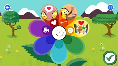Cartoon image of a 'feelings flower' within the Your Mindful Garden activity in the CBeebies Go Explore app.