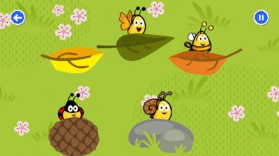 Cartoon image of CBeebies bugs playing hide and seek, within the Your Mindful Garden activity in the CBeebies Go Explore app.
