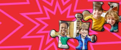 TWo jigsaw pieces on a red background. There are images of four children smiling in the jigsaw pieces.