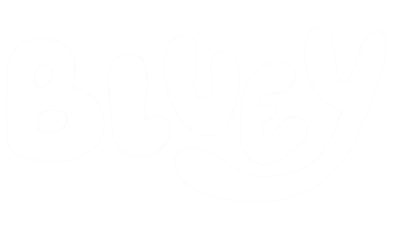 White text that reads 'bluey'.