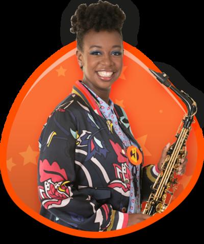 YolanDa with her saxophone in an orange button.