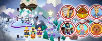 Snowy winter background, with characters from Hey Dugee, Swashbuckle, Waffle, Mr Tumble, Peter Rabbit and Go Jetters.