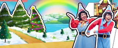Two elves are on a hilly background with trees and snow around them.