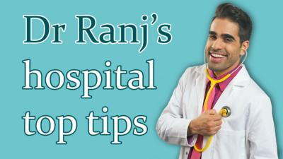 Dr Ranj smiling with the text 'Dr Ranj's hospital top tips'
