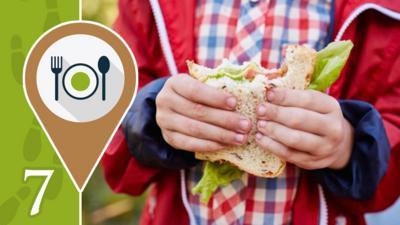 Childs hands holding a sandwich