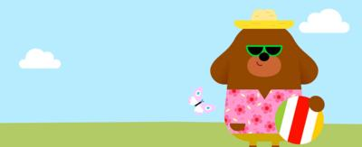 Dugee is dressed in his summer clothes, hat and sunglasses holding a beach ball, he is in front of a bright outdoor background with a butterfly flying towards him.