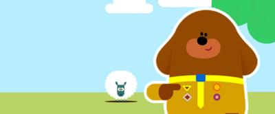 Duggee with a sheep.