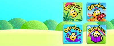 CBeebies app icons Go Explore, Get Creative, Playtime Island, Storytime