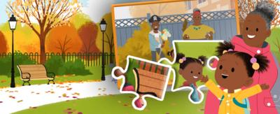 JoJo&GranGran are in a autumn scene with an image of a jigsaw puzzle next to them and two jigsaw pieces.
