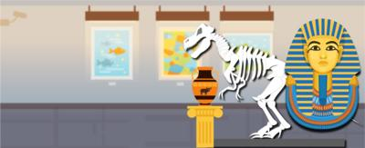 A museum backdrop with a Roman vase, a skeleton o a dinosaur and a Pharaoh's bust in front.
