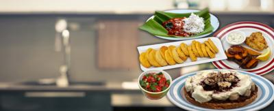 Assortment of dishes on a kitchen backdrop.