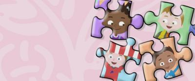 Four jigsaw pieces, each with different character illustrations from Number 1 Newton Avenue.
