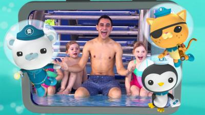 The Octonauts in front of an image of Ben sitting by a swimming pool