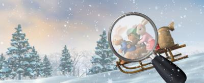 Peter, Lily and Benjim are on a sled going down a snowy hill. A large magnifying glass is hovering over them