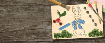 Peter Rabbit drawing with paintbrushes and pencils