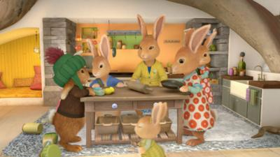 Peter Rabbit and his friends helping his mum