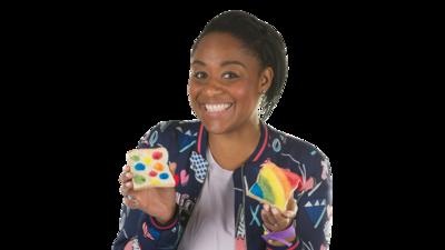 Presenter Joanna holding rainbow toast