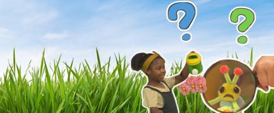Image of the Wiggle bug and a girl watering flowers with a watering can