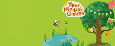 Images from Your Mindful Garden - a colourful cartoon garden in the CBeebies Go Explore app.