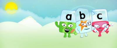 A, B and C Alphablocks on a hill.