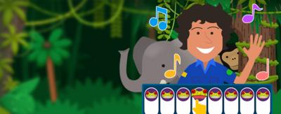 An illustrated Andy, monkey and elephant, a frog piano and music notes on a jungle background.
