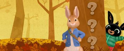 Peter Rabbit and Bing on an Autumn background.