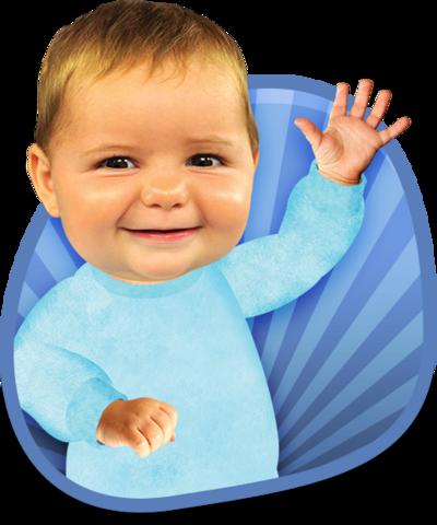 Baby Jake waving.