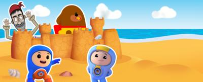 Line, Duggee, Foz and Kyan on the CBeebies Beach Party