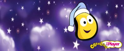CBeebies bug wearing night cap with stars behind it