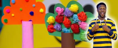 Ryan and a home made colourful blossom tree.