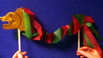 Red and green paper dragon